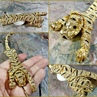 Vintage Tiger Brooch Rhinestone Tiger Gold Big Cat Brooch 7 Inches Long Articulated Movable Sparkling Clear Rhinestones and Black Enamel