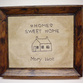 Stitchery, Framed Home Sweet Home Stitchery, Primitive Wall Decor, Pioneer Homestead Accent, Country Farmhouse Style