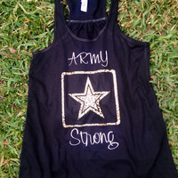 Army Strong Racerback Tank Army wife girlfriend fiancé sister mom