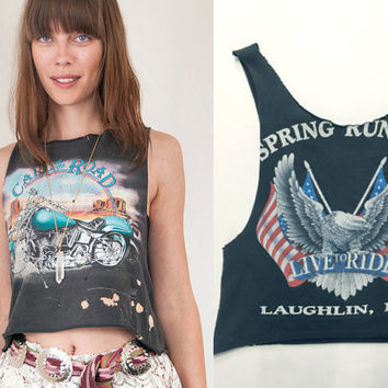 RARE 90s Vintage Distressed Harley Motorcycle Tank Top Small M S XS | Loose Fit Trashed Tshirt Tee 80s grunge Moto Bald Eagle Americana Tee