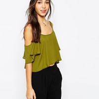 Never Fully Dressed Cold Shoulder Top With Frill Sleeve