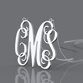 Silver or gold plated personalized gift monogram necklace 1.5 inch initials name pendant