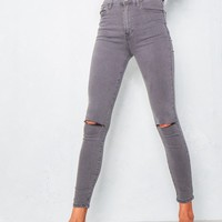Fran Washed Grey Ripped Knee High Waist Skinny Jeans Missy Empire