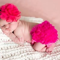 Baby Ruffle Bloomers set .. Lace Ruffle Bum by snazziebabyboutique
