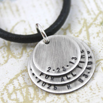 Anniversary GIft For Husband, Personalized Necklace with Anniversary Date, Personal Message, Latitude & Longitude Coordinates of Location