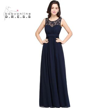 Robe Demoiselle D'honneur Cheap Navy Blue Lace Chiffon Long Bridesmaid Dresses 2017 Sexy Sheer Burgundy Red Wedding Party Dress