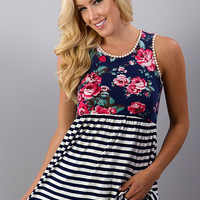 Stripes and Floral Tank Top - Navy