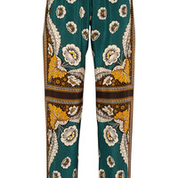 Valentino - Printed silk crepe de chine wide-leg pants