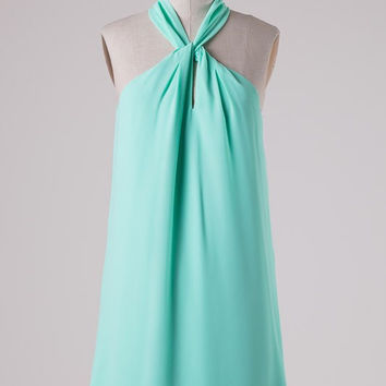 Twisted Halter Neck Dress - Mint