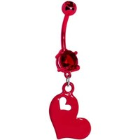 True Love Red Heart Dangle Belly Ring | Body Candy Body Jewelry