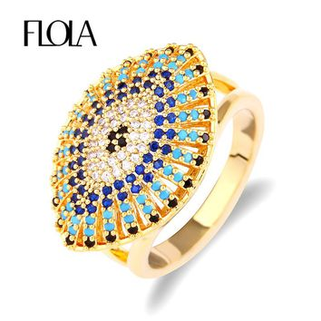 FLOLA 2018 Turkish Gold Evil Eye Ring for Woman Cubic Zirconia Rings with Stones Ethnic Dubai Gold Jewelry Anel anillo rige72