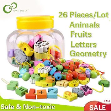26pcs/lot wooden toys Cartoon Animals Fruit Block Stringing Threading Beads Game Education Toy for Baby Kids Children GYH