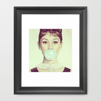 Audrey H Framed Art Print by LuxuryLivingNYC