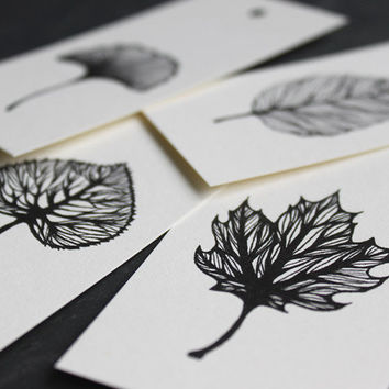 gift tags set AUTUMN 5 x 10 cm // fine art print of my ink leaves illustration - set of 4 prints - black and white print