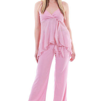 90s Vintage Pink 2 Piece Outfit Top and Flared Pants Combo Chiffon Jumpsuit Pastel Cami Boho Chic Festival Womens Size Medium