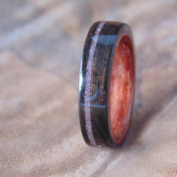 Ebony wood ring Bubinga liner with purple sugilite inlay
