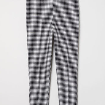 Patterned-weave Pants - Black/white checked - Ladies | H&M US