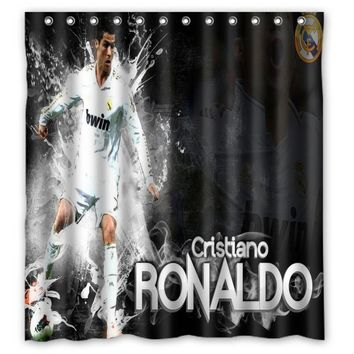 Vixm Home Cristiano Ronaldo Shower Curtains Movies Symbol Waterproof Fabric Bathroom Curtains 66x72 inch