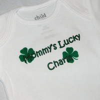 St. Patrick's Day Baby Onesuit. Mommy's Lucky Charm Shamrock Bodysuit. Can Be Customized By Size.
