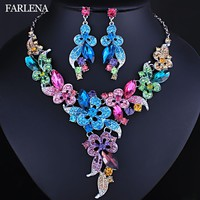 FARLENA Wedding Jewelry Multicolor Crystal Rhinestones Flower Necklace Earrings set for Women African Bridal Jewelry sets