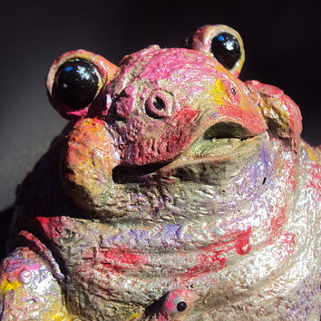 Stone Frog, Hippy Frog, Garden/Home Decor, A Paperweight, ooak painting