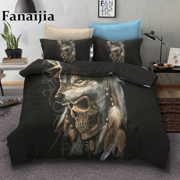 Fanaijia wolf skull Bedding Sets queen size Sugar skull Duvet Cover Bed Bohemian Print Black Bedclothes AU US bedline