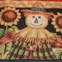 Fall Table Runner Sunflowers and Scarecrows Tapestry Harvest Halloween Thanksgiving Home Decor from A Vintage Addiction