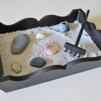 Zen Garden Office Table Top Large Size- Handmade Miniature Desk Set - Relaxation Mediation Tools - Home and Work Decor