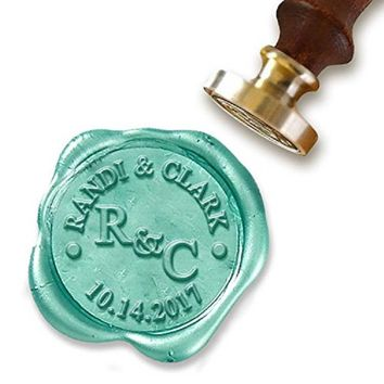 """Brand New Custom Wax Seal Stamp Kit with Sealing Wax-1"""" Die with Initials, Names and Date"""