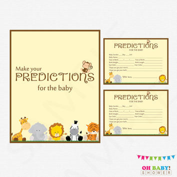 Predictions for Baby, Safari Jungle Baby Shower, Baby Prediction Cards, Baby Predictions, Baby Shower Activity, Baby Shower Sign, BS0001-N