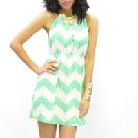 Mint Chevron Dress