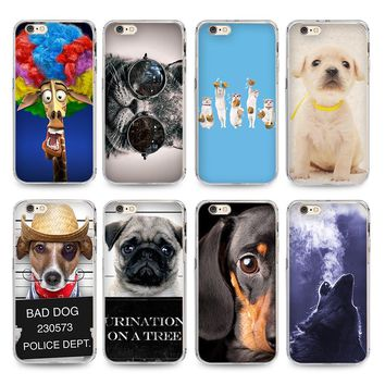 On Sale Cute Dog And Cat With Glasses Wolf Soft Transparent TPU Phone Case Accessories For iPhone 4s 5s 6s  7 6 6Plus 7Plus Case