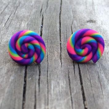 Rainbow Earrings, Rainbow Stud Earring, Rainbow,  rainbow jewelry, rainbow colors,  colorful earrings, rainbow studs, rainbow earring, Stud