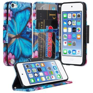 iPod Touch 5 / Ipod Touch 6 Wallet Case, Slim Strap Flip Folio [Kickstand] Pu Leather Wallet Case with ID & Credit Card Slots - Blue Butterfly