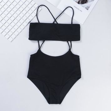 2 Two Piece Bikini Two Pieces Bikini Set Bandeau Top Hig Waist Bralette Swimsuit Women Swimmer Swimwear Bottom With Straps Swimming Costume Bather KO_21_2