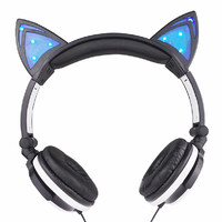 Cat Ear Headphones 1Pc Foldable Flashing Glowing Gaming Headset Audifonos With LED Light Earphone For PC Laptop Mobile Phone MP3