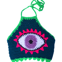TRIPPING LIL EYE CROCHET CROP