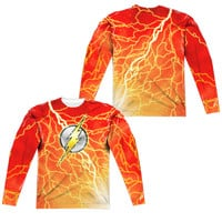 The Flash Lightning Logo Sublimated Mens Long Sleeve Costume T-Shirt
