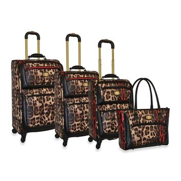 Adrienne Vittadini Red Hot Collection 4-Piece Spinner Luggage Set