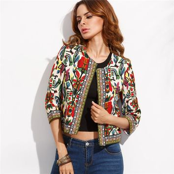 Embroidery Outerwear Tribal Print Office Ladies Women Coats and Jackets Vintage Long Sleeve Coat