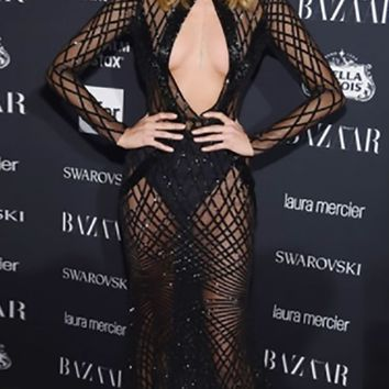 Mix And Mingle Black Sheer Mesh Geometric Diamond Sequin Long Sleeve Cut Out Keyhole Maxi Dress