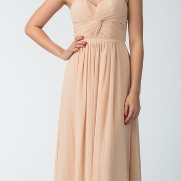 Popular Chiffon Strapless Champagne Beach Wedding Bridesmaid Dress