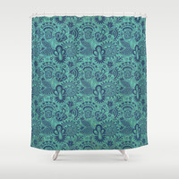 Blue Skin Shower Curtain by Tony Vazquez