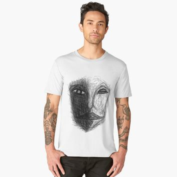 """'""""etching 16 - conflicted"""" Apple Pencil drawing' Men's Premium T-Shirt by BillOwenArt"""