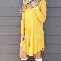 Follow Your Heart Mustard V-Neck Long Sleeve Dress