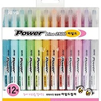JAVAPEN rainbow pastel Highlighter brush Chisel Tip Pens (Mild colors 12 pens set)