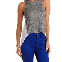Knit & Chiffon High-Low Tank Top by Charlotte Russe
