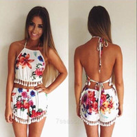 Women Sexy Casual Two Pieces Set Halter Sleeveless Backless Lace Trimming Crop Tops Flower Print Fringe Shorts