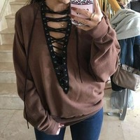 Hoodies Tops Pullover Hollow Out Deep V Long Sleeve Women's Fashion T-shirts