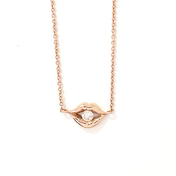 Solid 14K Gold & Diamond Lip Pout Charm Pendant Necklace {available in Yellow, White or Rose Gold}
